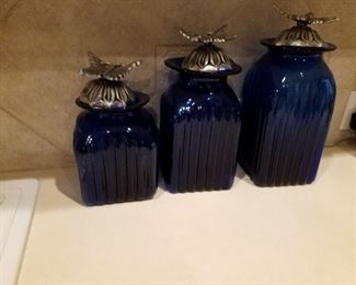 Butterfly Topped Blue Glass Canisters