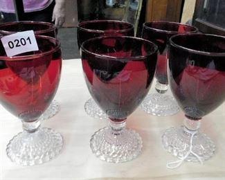 6 red Louisiana  water glasses