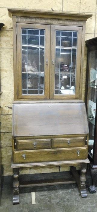 English oak drop front bookcase secretary