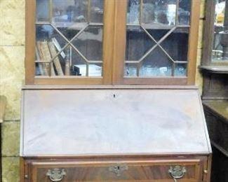 Vintage mahogany bookcase secretary w/string inlay