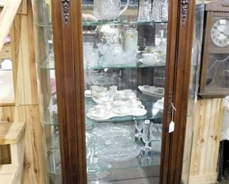 ROUND FRONT MAHOGANY CHINA CABINET HAS BEVELED GLASS  IN DOOR