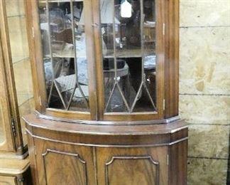 MAHOGANY CURVE GLASS CORNER CABINET