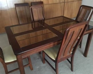 Dining set with 2 leaves, 6 chairs, and lighted Hutch