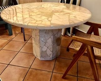 """1980 beige onyx dining room table 30"""" h"""