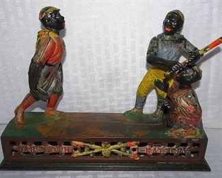 """Rare """"Dark Town Battery"""" Cast Iron Mechanical Bank (Dated 1875)"""