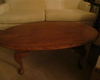 small solid oak oval coffee table