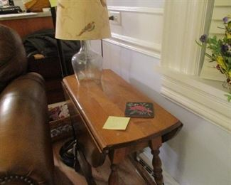 small solid wood drop leaf end table