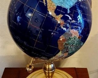 "Large Lapis Lazuli globe with gemstones - John Hagee Ministries ""All the Gospel to all the World"" - Globe is removable from base"