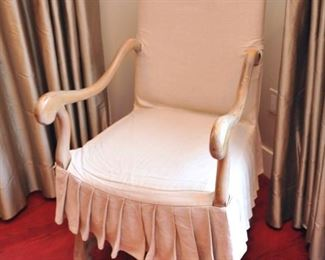 Pair skirted chairs