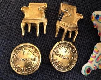 Karl Lagerfeld chair earrings; Chanel earrings