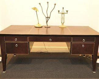 Brown leather upholstered desk