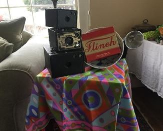 Parker bros game, Pucci scarf (stain) vintage cameras