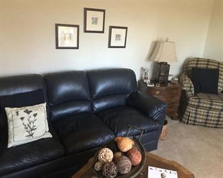 Excellent Condition Navy Leather Sofa