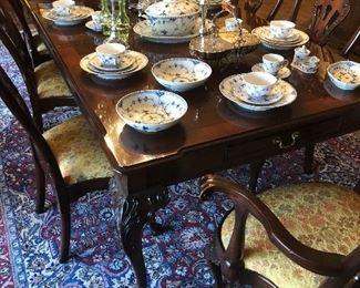 Sterling Candleabrums, Royal Vopenhagen Blue Lace China, English Sheffield Silver & Cut Glass Centerpiece,  Vaseline Glass Oil & Vinegar