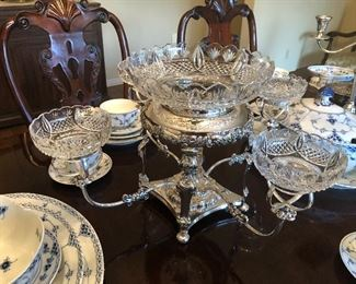 "English Sheffield Silver Epergne 23"" Across, 12-1/2"" tall Center Bowl is 10-1/2"" diameter Small Bowls is 4-1/2"" diameter"
