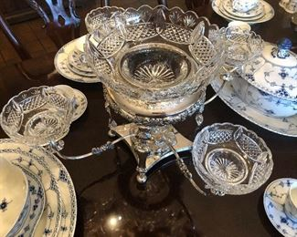 English Sheffield Silver & Cut Glass Epergne / Centerpiece!!  AWESOME Piece!