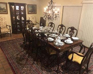 Henredon Dining Table w/ 2 Leaves & 8 Chairs,  Hand Tied Rug, Czech Crystal Chandelier, Royal Copenhagen Full Lace China