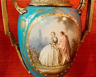 Detail of Sevres Portrait Vases.  Sold as a Pair