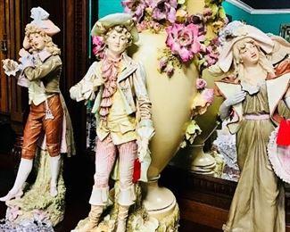 Monumental Royal Dux Amphora Figural Vase
