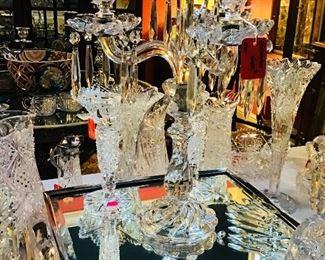 Baccarat Candelabra, Antique Silverplate Plateau Mirror