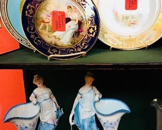 Pair Figural French Spill Vases and French Cabinet Plates