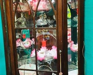 Mahogany Corner Cabinet and Brides Baskets