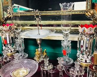 Bronze and Glass Centerpieces, Fine Moser Lustres, Baccarat Hurricanes