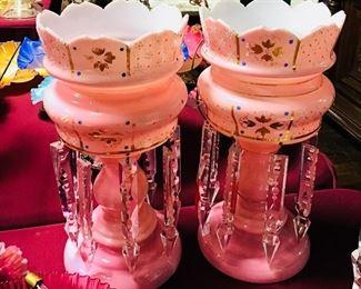 Pair Pink Lustres