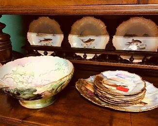 Limoges Punch Bowl and Fish Set