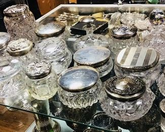 Sterling and CutGlass Powder Jars and Hair Recievers