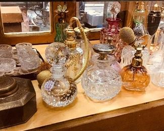 Tiffany Inkwell and Perfume Bottles