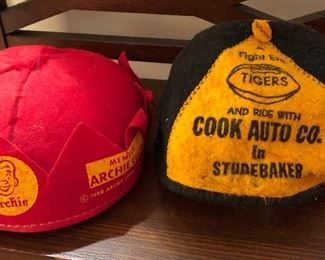 Old beanies, advertising hats
