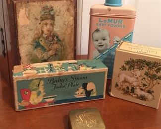 Vintage baby products, boxes, decoupaged box