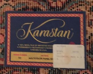 This is tag of previously pictured rug Karastan
