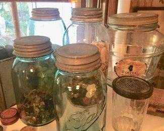 So many great Ball jars; some advertising and unique shapes