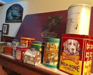 Tins, large thread advertising lap desk with cat