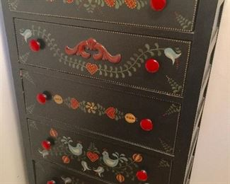 Tole painted chest of drawers