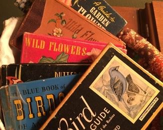 Lots of bird books: many vintage with lovely pictures