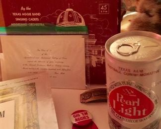 A & M memorabilia (we have quite a bit) can of Pearl Light beer