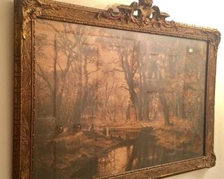 Beautiful very old print and frame of man by the stream