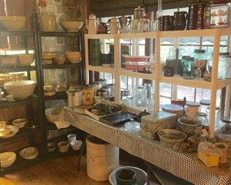 Yelloware and lots of it! All kinds of unique kitchen items including crocks, baskets, boxes and more