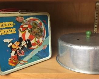 Green handled cake plate lid and Disney lunchbox