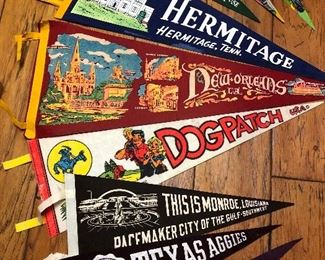 Vintage pennants and Texas A & M. We have  vintage Disney one but it's not in this photo