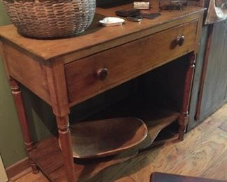 Sweet primitive  table with drawer and shelf.