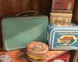 Old lunchbox and more vintage tins.