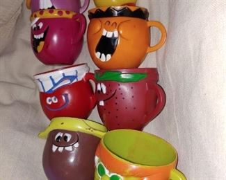 70s Kool Aid Cups  Goofy Grape, Rootin' Tootin' Raspberry, Freckle-Face Strawberry, Loud -Mouth Lime, Jolly-Olly Orange and Choo Choo Cherry