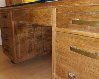 Vintage Solid Wood Tanker Desk