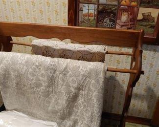 Chenille bedspread, quilt rack, blankets