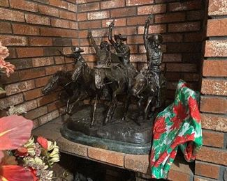 """Massive Monumental Remington Bronze, """"Coming through the Rye"""", Amazing piece. measures over 30 inches in width and nearly 30 inches in height, an amazing bronze of this master artist!"""