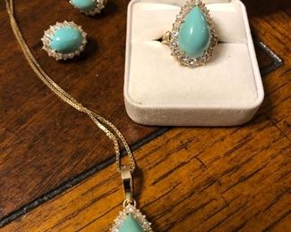 18k gold Turquoise and diamond Earrings, Necklace, and Ring Only the appraisal for this set will be at the sale, you must make an appointment to see in person